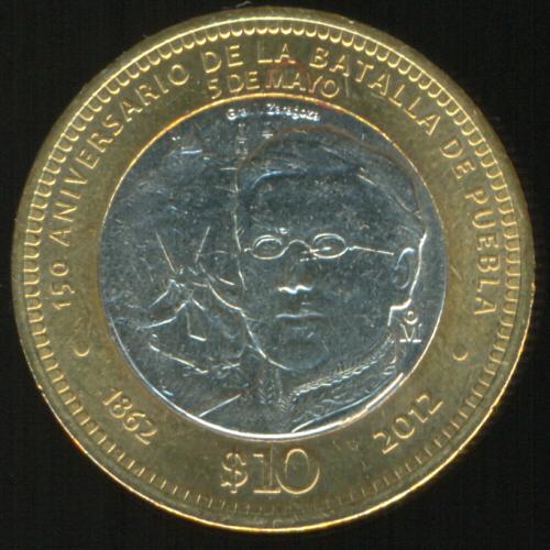 bad1d1f0a8b0 Moneda de 10 pesos conmemorativa del 5 de mayo de 1862