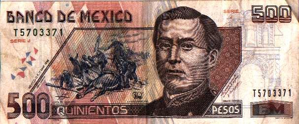 Billete de 500 pesos de Puebla